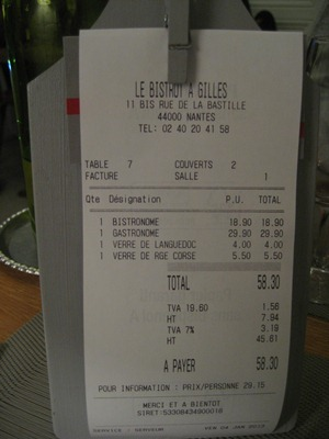 Le bistrot à Gilles - Addition